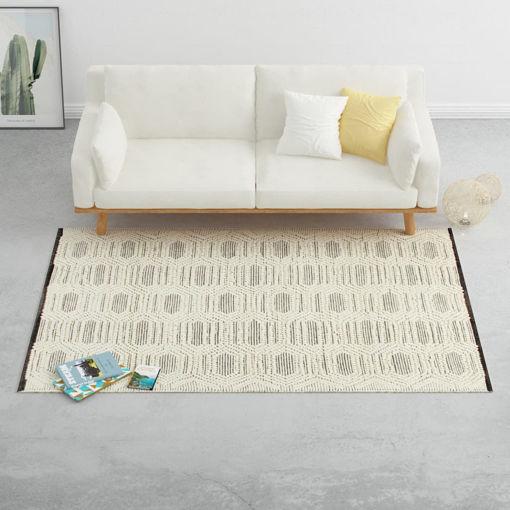 Immagine di Tappeto in Lana Tessuto a Mano 160x230 cm Bianco/Nero