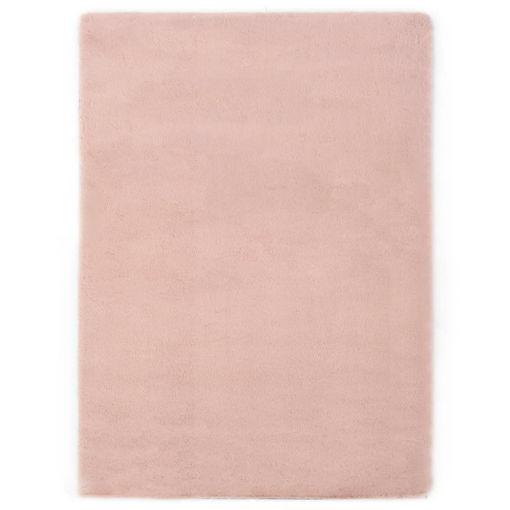 Immagine di Tappeto 80x150 cm Pelliccia di Coniglio Sintetica Rosa Antico