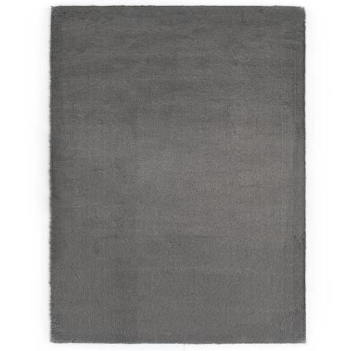 Immagine di Tappeto 160x230 cm Pelliccia di Coniglio Sintetica Grigio Scuro