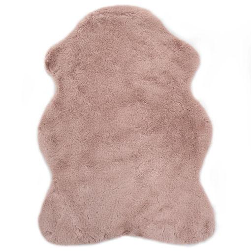 Immagine di Tappeto 65x95 cm Pelliccia di Coniglio Sintetica Rosa Antico
