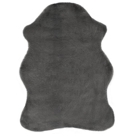 Immagine di Tappeto 65x95 cm Pelliccia di Coniglio Sintetica Grigio Scuro