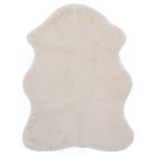 Immagine di Tappeto 65x95 cm Pelliccia di Coniglio Sintetica Crema