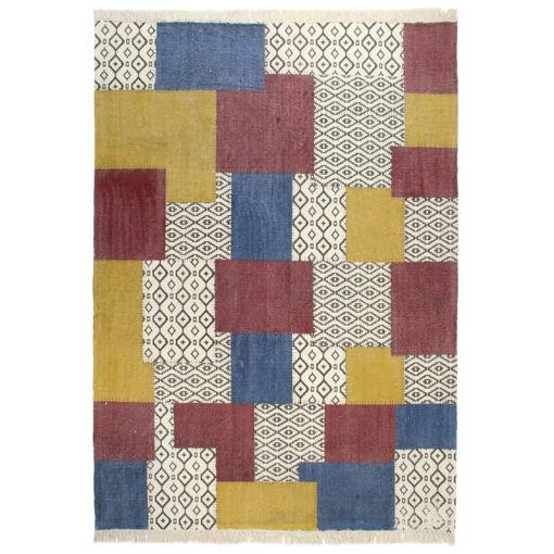 Immagine di Tappeto Kilim Tessuto a Mano in Cotone 200x290 cm Multicolore