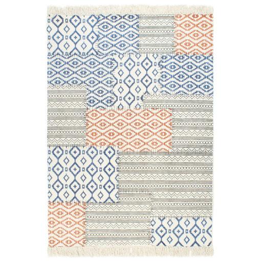 Immagine di Tappeto Kilim Tessuto a Mano in Cotone 120x180 cm Multicolore
