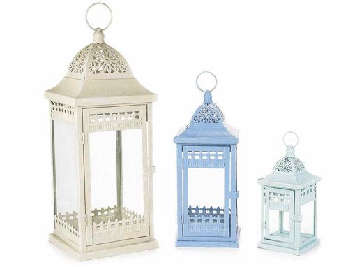 Set 3 Lanterne in Metallo Colorato