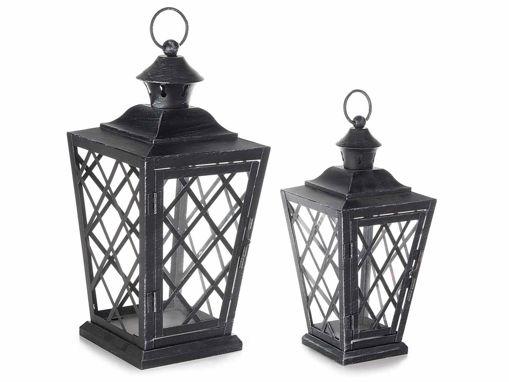 Set 2 Lanterne in Metallo Nero