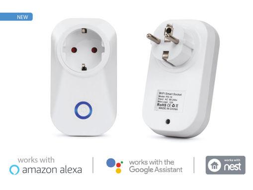 V-TAC Smart WiFi Plug Presa P30 Schuko 10A Compatible Amazon Alexa Google Home SKU-8415