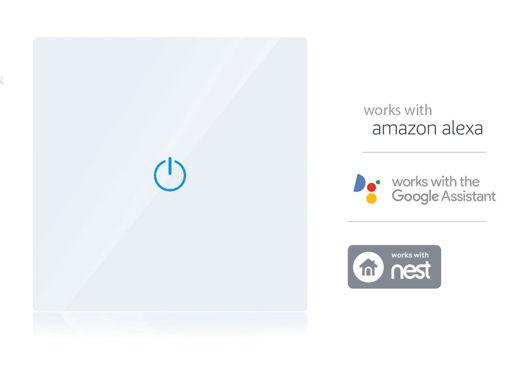 V-TAC Smart WiFi Touch Panel Pannello Interruttore 1 Tasto Modello Bianco Compatible Amazon Alexa Google Home SKU-8417