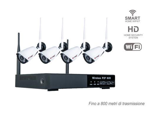 Kit Videosorveglianza WiFi Con 4 Telecamere IPC Bullet 1080P 2MP IP65 e NVR 4 Canali P2P Sensore di Movimento Avviso Via Email Audio Video SKU-8400