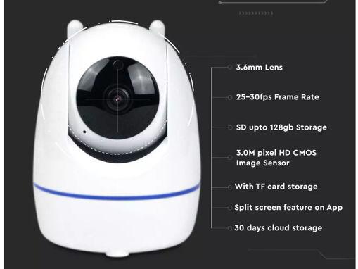 TeleCamera IP WiFi Wireless Interno IP20 3MP FullHD Visione Notturna Allarme Movimento Controllo APP SKU-8986