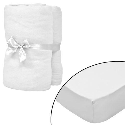 Immagine di Lenzuolo con Angoli Culla 4 pz Maglia di Cotone 40x80 cm Bianco