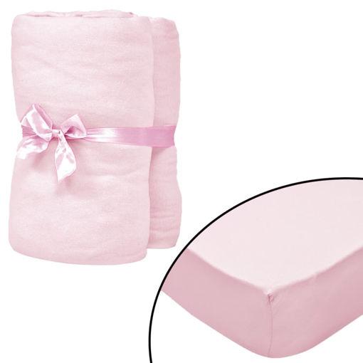 Immagine di Lenzuolo con Angoli Culla 4 pz Maglia di Cotone 40x80 cm Rosa