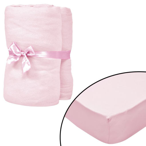 Immagine di Lenzuola con Angoli Culla 4 pz Maglia di Cotone 70x140 cm Rosa