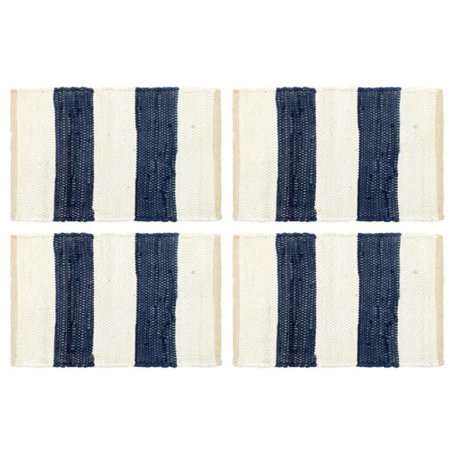 Immagine di Tovagliette 4 pz Chindi a Strisce Blu e Bianco 30x45 cm Cotone