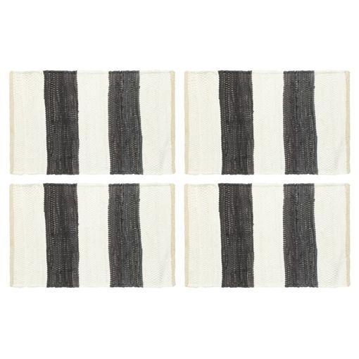 Immagine di Tovagliette 4 pz Chindi Strisce Antracite Bianco 30x45cm Cotone