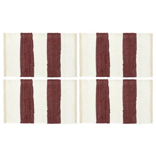 Immagine di Tovagliette 4 pz Chindi a Strisce Borgogna e Bianco 30x45cm