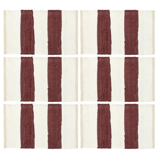 Immagine di Tovagliette 6 pz Chindi a Strisce Borgogna e Bianco 30x45cm