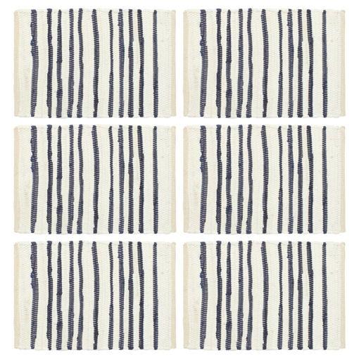 Immagine di Tovagliette 6 pz Blu e Bianco 30x45 cm in Cotone