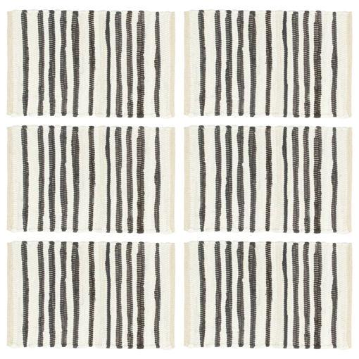 Immagine di Tovagliette 6 pz Antracite e Bianco 30x45 cm in Cotone