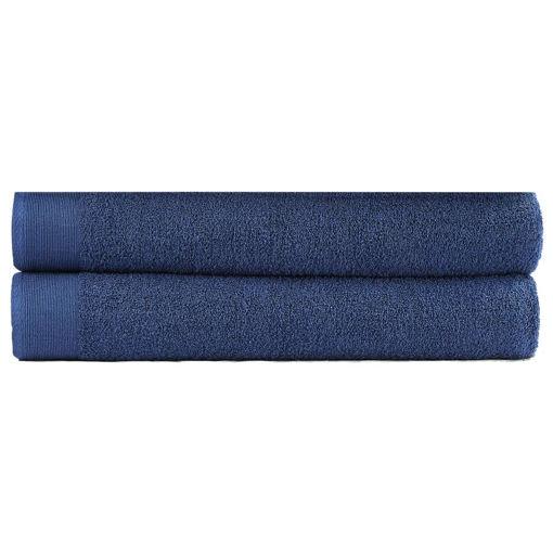Immagine di Asciugamani Bagno Set 2 pz Cotone 450 gsm 100x150 cm Blu Marino