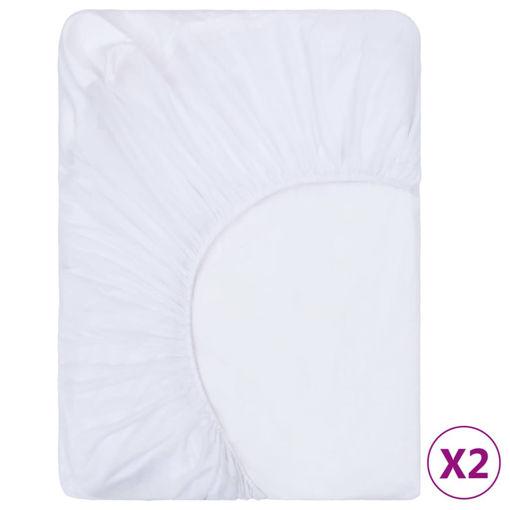Immagine di Lenzuola con Angoli Impermeabili 2 pz Cotone 200x220 cm Bianco