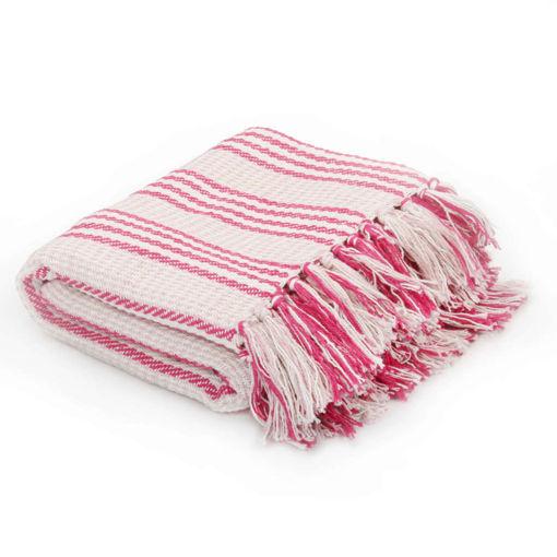 Immagine di Copriletto in Cotone a Strisce 160x210 cm Rosa e bianco