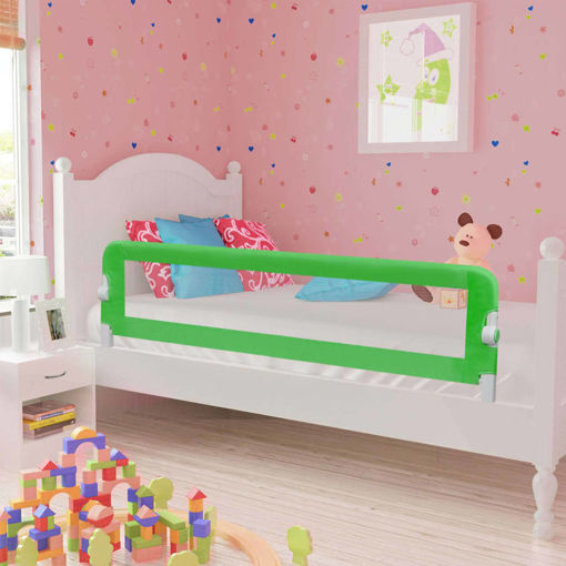 Immagine di Sponde Letto di Sicurezza Bambini Verde 120x42cm Poliestere