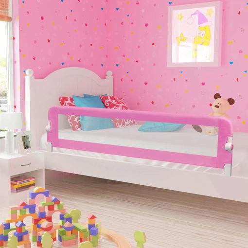 Immagine di Sponde Letto di Sicurezza per Bambini Rosa 180x42cm Poliestere