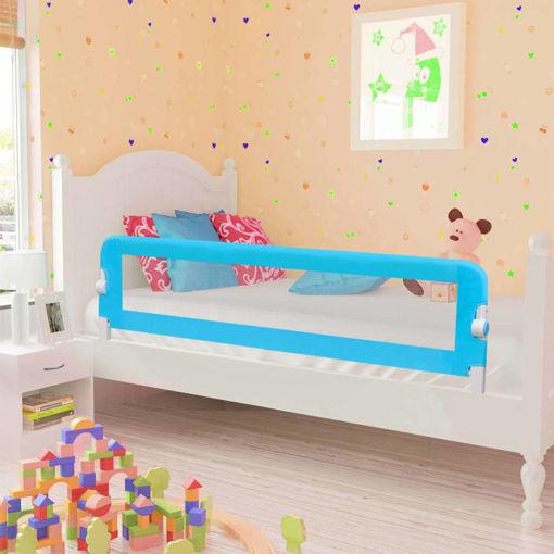 Immagine di Sponde Letto di Sicurezza per Bambini Blu 120x42cm Poliestere