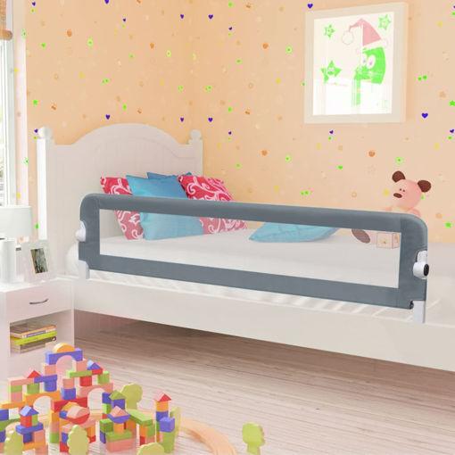 Immagine di Sponde Letto di Sicurezza Bambini Grigio 180x42cm Poliestere