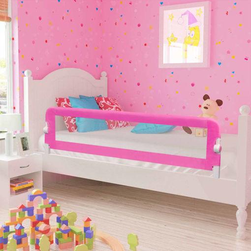 Immagine di Sponde Letto per la Sicurezza dei Bambini 2 pz Rosa 150x42 cm