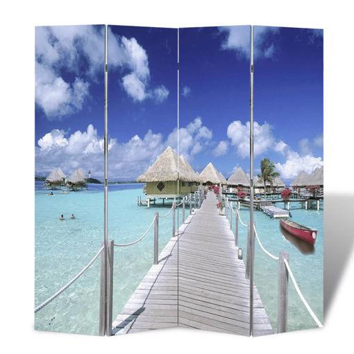 Immagine di Paravento Pieghevole 160x170 cm con Stampa Spiaggia