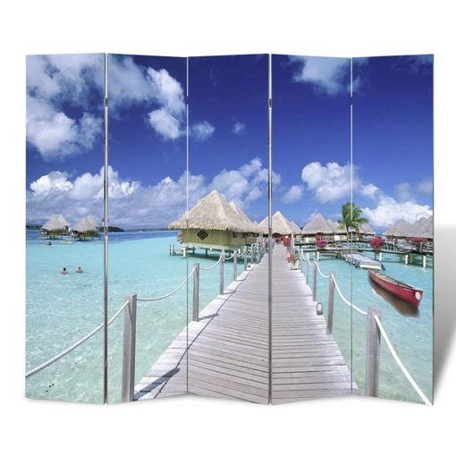 Immagine di Paravento Pieghevole 200x170 cm con Stampa Spiaggia