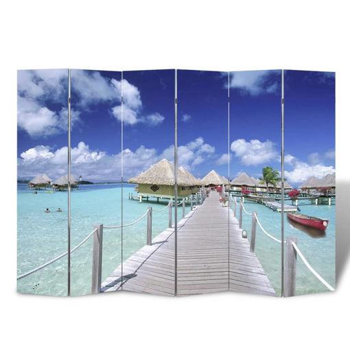 Immagine di Paravento Pieghevole 240x170 cm con Stampa Spiaggia