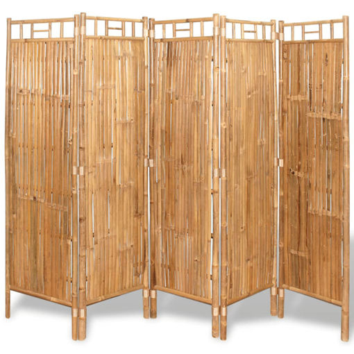 Immagine di Divisorio a 5 Pannelli da Recinzione in Bambù 200x160 cm