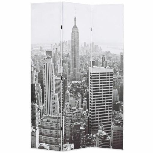 Immagine di Paravento Pieghevole 120x170 cm Stampa New York Bianco e Nero