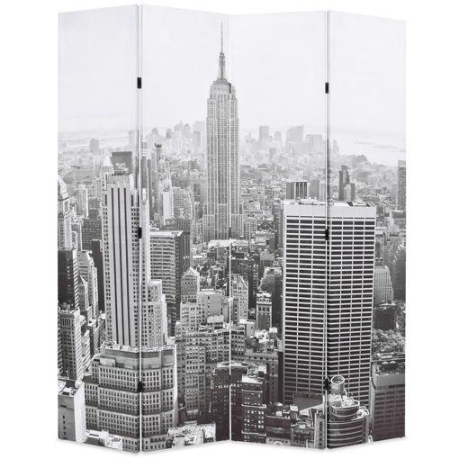 Immagine di Paravento Pieghevole 160x170 cm Stampa New York Bianco e Nero