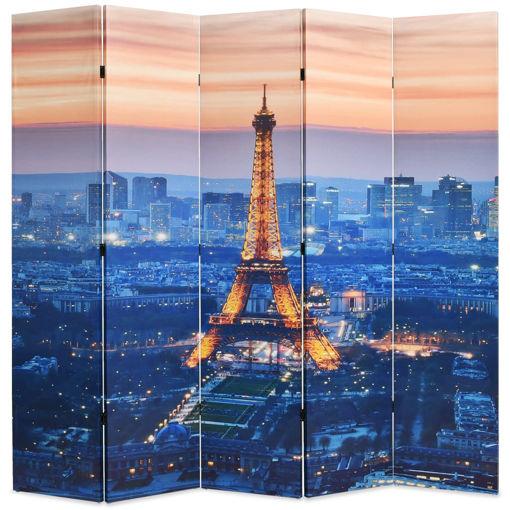 Immagine di Paravento Pieghevole 200x170 cm Stampa Parigi di Notte