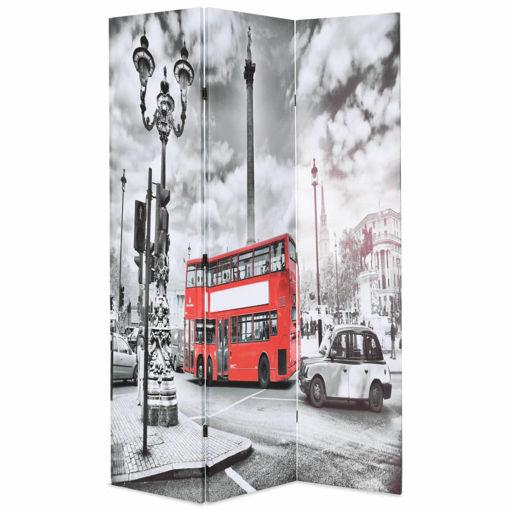 Immagine di Paravento Pieghevole 120x170 cm Stampa Bus Londra Bianco e Nero
