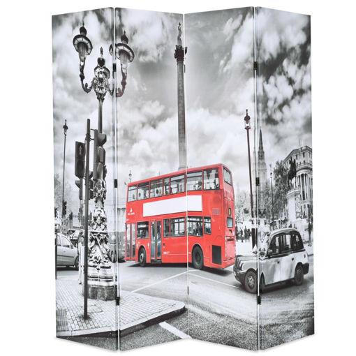 Immagine di Paravento Pieghevole 160x170 cm Stampa Bus Londra Bianco e Nero