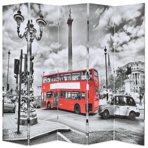 Immagine di Paravento Pieghevole 200x170 cm Stampa Bus Londra Bianco e Nero