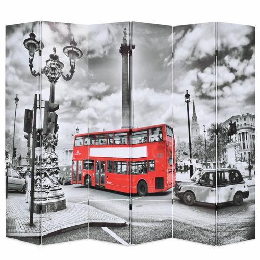 Immagine di Paravento Pieghevole 228x170 cm Stampa Bus Londra Bianco e Nero