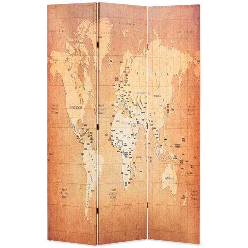 Immagine di Paravento Pieghevole 120x170 cm Stampa Mappa del Mondo Giallo