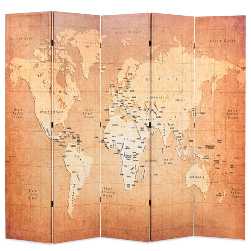 Immagine di Paravento Pieghevole 200x170 cm Stampa Mappa del Mondo Giallo