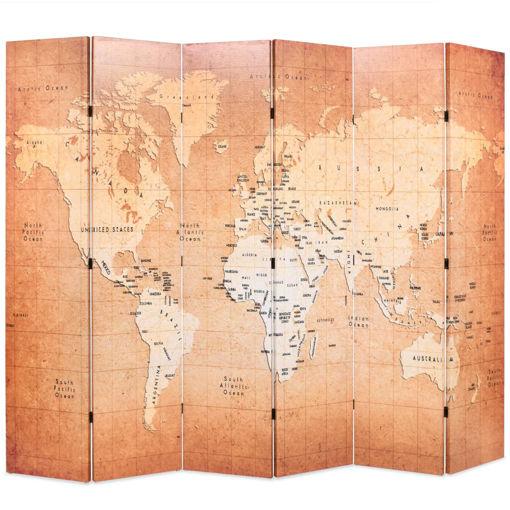 Immagine di Paravento Pieghevole 228x170 cm Stampa Mappa del Mondo Giallo
