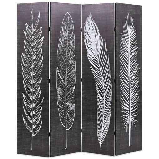 Immagine di Paravento Pieghevole 160x170 cm Stampa Piume Bianco e Nero