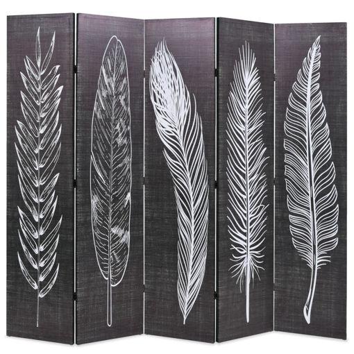 Immagine di Paravento Pieghevole 200x170 cm Stampa Piume Bianco e Nero