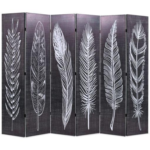 Immagine di Paravento Pieghevole 228x170 cm Stampa Piume Bianco e Nero