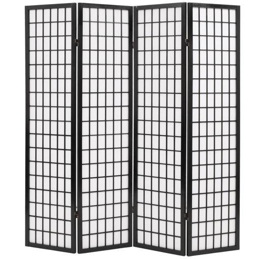 Immagine di Paravento Pieghevole 4 Pannelli Stile Giapponese 160x170cm Nero