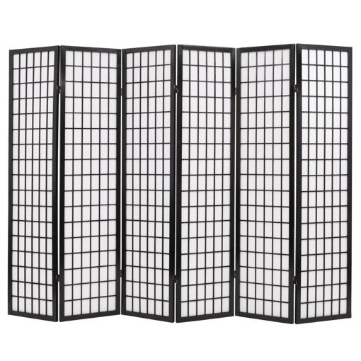 Immagine di Paravento Pieghevole 6 Pannelli Stile Giapponese 240x170cm Nero